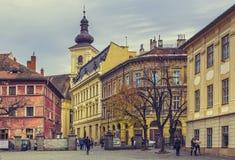 Huet fyrkant, Sibiu, Rumänien Arkivfoto