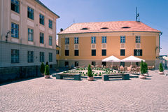 Huet Square. Image showing two buildings in the Huet Square in Sibiu, Romania, the Brukenthal Highschool and the Cafe Wien building stock image