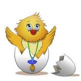 Huevo agrietado con los polluelos lindos dentro libre illustration
