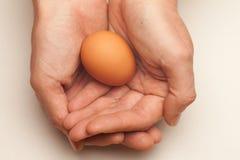 Huevo ahuecado en manos Fotografía de archivo