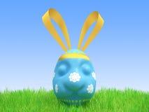 Huevo azul de Pascua - una liebre Fotos de archivo