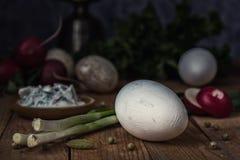 Huevo, cebolla y rábano del pollo Todavía vida 1 Foto de archivo libre de regalías