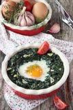 Huevo cocido fresco con espinaca fotos de archivo libres de regalías