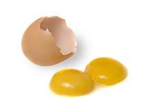 Huevo con dos yemas de huevo Imagenes de archivo
