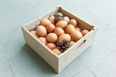 Huevo con el heno y el pino Fotografía de archivo libre de regalías