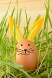 Huevo con los oídos decorativos del conejito Foto de archivo