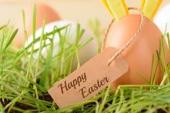 Huevo con los oídos del conejito para el día de fiesta de Pascua Foto de archivo libre de regalías