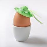 Huevo con un sombrero verde Imagen de archivo libre de regalías