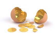 Huevo de oro agrietado con el dólar de oro dentro Fotos de archivo libres de regalías