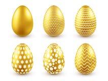 Huevo de oro de Pascua Días de fiesta tradicionales de la primavera en abril o marzo domingo Huevos y oro Conjunto grande stock de ilustración