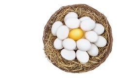Huevo de oro que se coloca hacia fuera de los huevos blancos en cesta de mimbre Imagen de archivo
