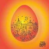 Huevo de Pascua anaranjado con el dibujo del paisaje de la ciudad con las casas, estrellas, ondas estilizadas en fondo anaranjado ilustración del vector