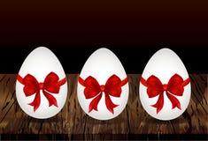 Huevo de Pascua atado con la cinta y el arco Lugar vacío para el texto o los adv stock de ilustración