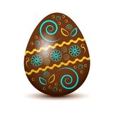 Huevo de Pascua colorido con la sombra coloreada Colores de Brown, azules y amarillos Ullustration del vector libre illustration