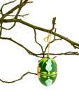 huevo de Pascua con el ornamento en una ramificación de árbol Fotos de archivo libres de regalías