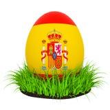 Huevo de Pascua con la bandera de España en la hierba verde, representación 3D ilustración del vector