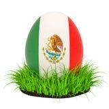 Huevo de Pascua con la bandera de México en la hierba verde, representación 3D stock de ilustración