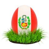 Huevo de Pascua con la bandera de Perú en la hierba verde, representación 3D ilustración del vector