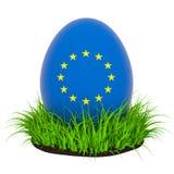 Huevo de Pascua con la bandera de la unión europea en la hierba verde, representación 3D ilustración del vector