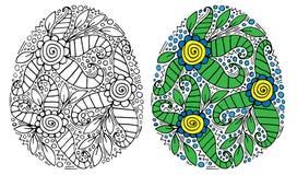 Huevo de Pascua con la flor y hoja para el libro de colorear o la p?gina y el otro dise?o libre illustration
