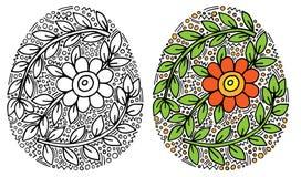 Huevo de Pascua con la flor y hoja para el libro de colorear o la p?gina y el otro dise?o ilustración del vector