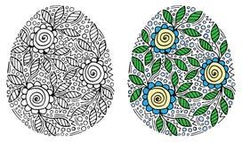 Huevo de Pascua con la flor y hoja para el libro de colorear o la p?gina y el otro dise?o stock de ilustración