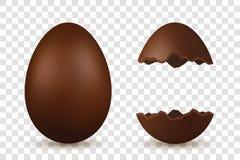 Huevo de Pascua 3d Sistema entero y quebrado marrón de los huevos, fondo transparente blanco aislado Decoración tradicional ilustración del vector
