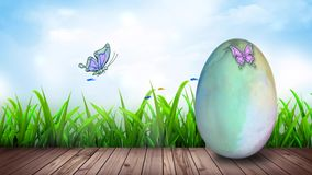 Huevo de Pascua de la acuarela en el lazo del paseo marítimo 4K libre illustration