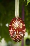 Huevo de Pascua de madera Fotografía de archivo libre de regalías