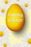 Huevo de Pascua de oro con Pascua feliz Fotografía de archivo libre de regalías