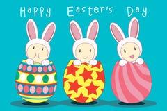 Huevo de Pascua del conejito del trío Fotos de archivo