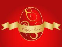 Huevo de Pascua del oro con la cinta y el texto Fotos de archivo libres de regalías