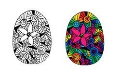 Huevo de Pascua dibujado mano para el libro de colorear Fotos de archivo libres de regalías