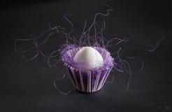 Huevo de Pascua en taza del blanco y del purle Fotos de archivo libres de regalías