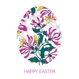 Huevo de Pascua feliz adornado con diverso modelo floral de los elementos Flores del rosa del ejemplo del vector Fotografía de archivo libre de regalías