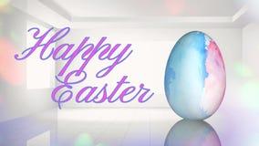Huevo de Pascua feliz de la acuarela en el sitio blanco 4K stock de ilustración