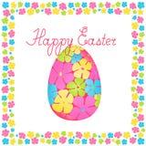 Huevo de Pascua de las flores en un texto congratulatorio floral del marco y de la mano Ilustración aislada del vector ilustración del vector