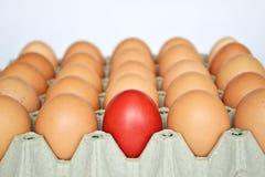 Huevo de Pascua rojo entre los huevos marrones Imagen de archivo