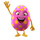 Huevo de Pascua sonriente, personaje de dibujos animados divertido 3D ilustración del vector