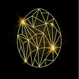 Huevo de Pascua, tarjeta de felicitación Egg la forma en estilo polivinílico bajo con la arena de oro detrás Imagen de archivo libre de regalías
