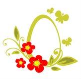 Huevo de Pascua y flores rojas Imágenes de archivo libres de regalías
