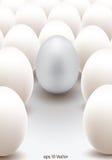 Huevo de plata que se coloca hacia fuera de los otros libre illustration