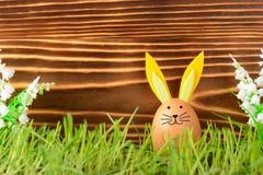 Huevo del pollo con los oídos de conejo para Pascua Fotos de archivo