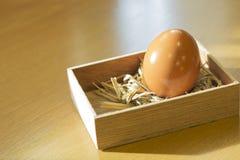 Huevo en caja de madera Fotos de archivo libres de regalías