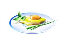 Huevo en la placa blanca Imagen de archivo