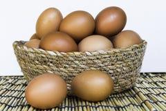Huevo en una cesta en el fondo blanco Imagen de archivo