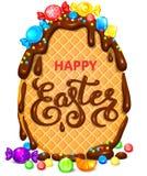 Huevo feliz de la galleta de pascua en chocolate con la porción de piruletas y de bandera brillantes del caramelo ilustración del vector