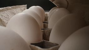 Huevo fresco crudo en el paquete en whitetable, lanzamiento de la diapositiva metrajes