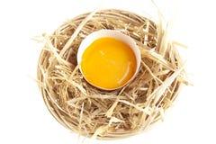 Huevo fresco sin procesar en la cesta Imagen de archivo libre de regalías