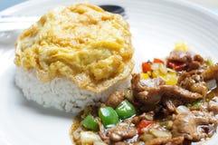 Huevo frito con arroz Fotografía de archivo libre de regalías